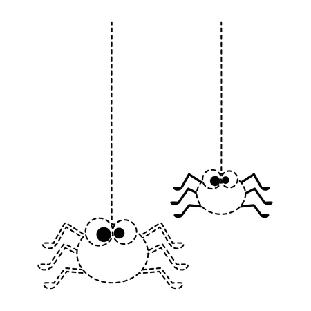 cute spiders hanging halloween decoration vector illustration design Illustration