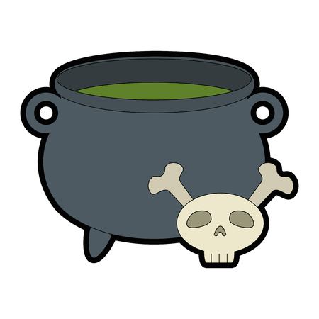 witch boiler with skull vector illustration design