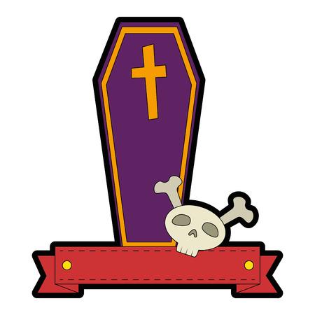 coffin halloween with skull decorative icon vector illustration design