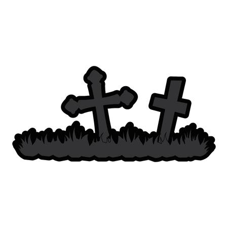 cemetery scene isolated icon vector illustration design Imagens - 88889686