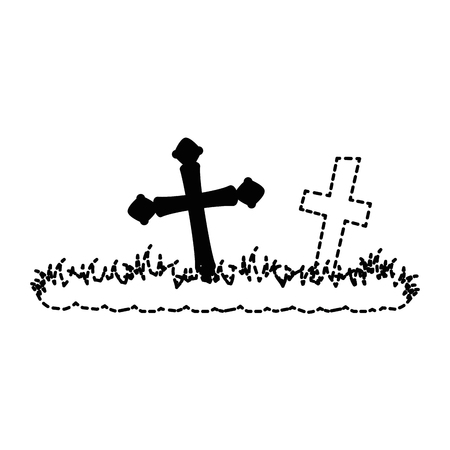 cemetery scene isolated icon vector illustration design Imagens - 88889688