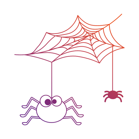cute spiders with spiderweb halloween decoration vector illustration design