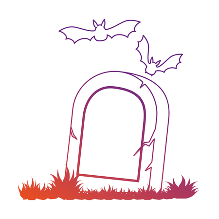 grave stone: grave of dead with vampires flying vector illustration design