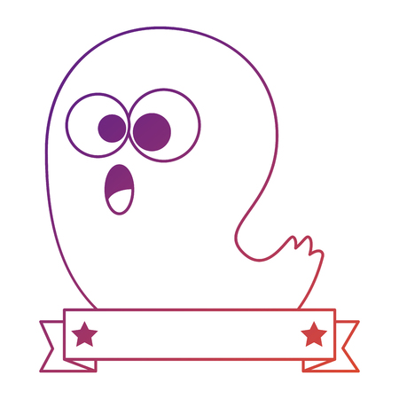ghost house: funny ghost halloween character vector illustration design