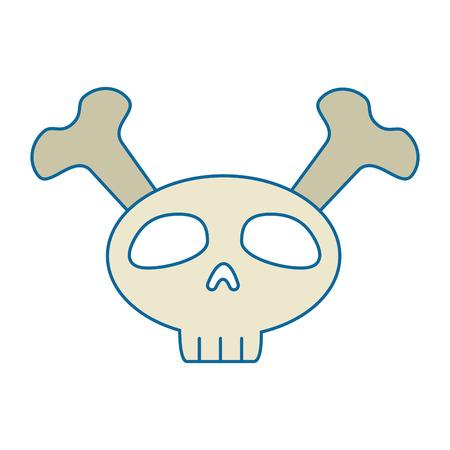 piracy: funny skull with bones crossed vector illustration design