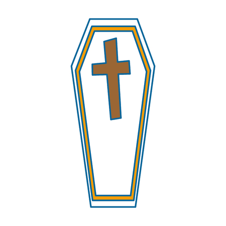 coffin halloween decorative icon vector illustration design