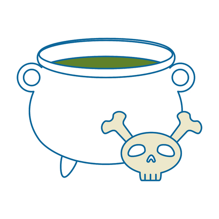skull and crossed bones: witch boiler with skull vector illustration design