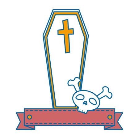 coffin halloween with skull decorative icon vector illustration design