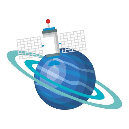 위성 벡터 일러스트 레이션 디자인과 토성 행성 스톡 콘텐츠 - 88893767