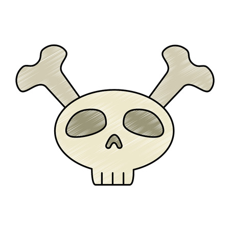 funny skull with bones crossed vector illustration design
