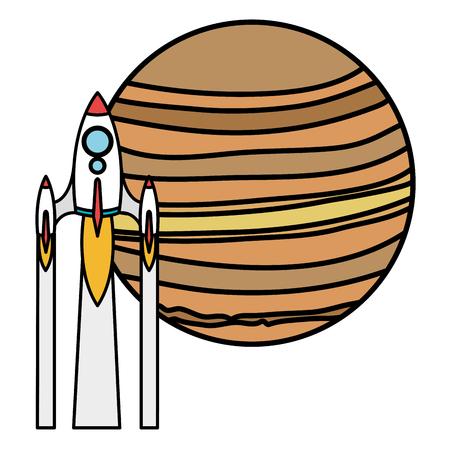 neptune planet with rocket vector illustration design