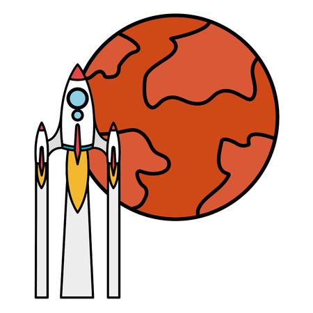 mars planet with rocket vector illustration design