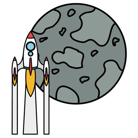 mercury planet with rocket vector illustration design