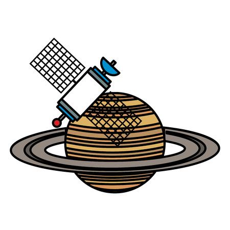 saturn planet with satellite vector illustration design