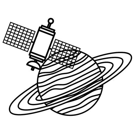위성 벡터 일러스트 레이션 디자인과 토성 행성