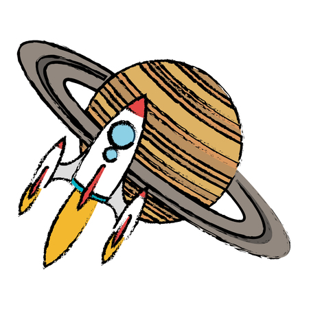 saturn planet with rocket flying vector illustration design