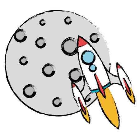 moon satellite with rocket flying vector illustration design