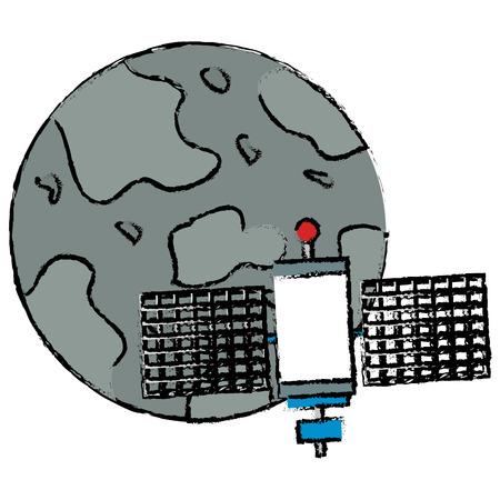 mercury planet with satellite vector illustration design