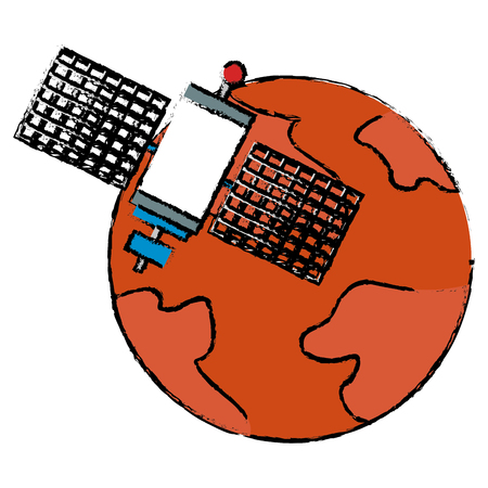 mars planet with satellite vector illustration design