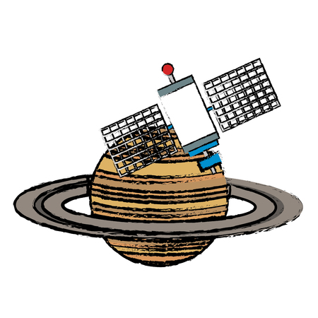 saturn planet with satellite vector illustration design