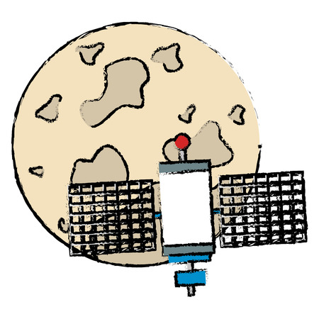 moon with satellite flying vector illustration design Illustration