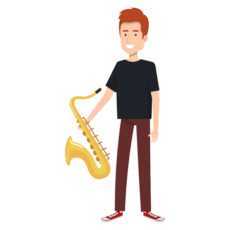 man playing saxophone character vector illustration design Stok Fotoğraf - 88890217