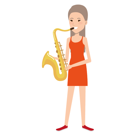 woman playing saxophone character vector illustration design