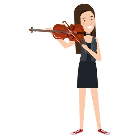 女性バイオリン文字ベクトル イラスト デザインを再生