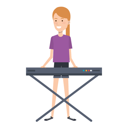 woman playing synthesizer character vector illustration design
