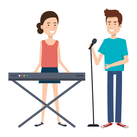 couple singing and playing synthesizer vector illustration design