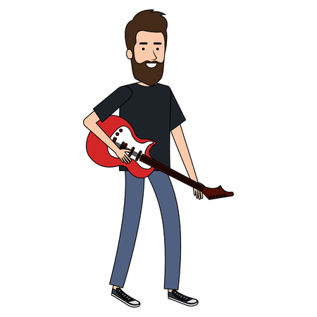 man playing guitar electric character vector illustration design