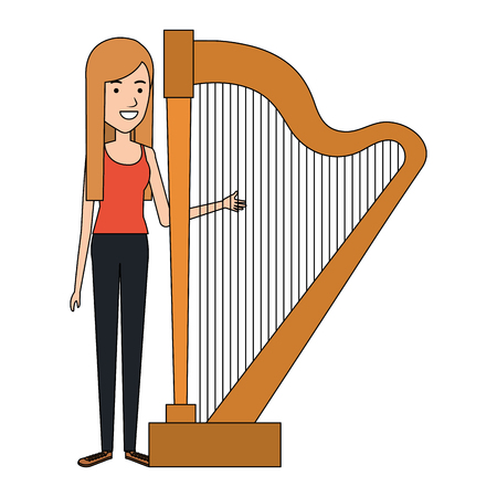 woman playing harp character vector illustration design