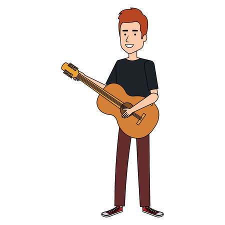 man playing guitar character vector illustration design Çizim