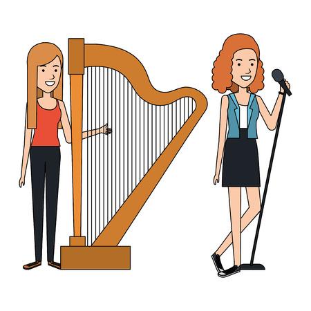 women singing and playing harp vector illustration design