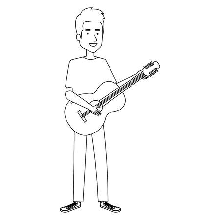 man playing guitar character vector illustration design Çizim