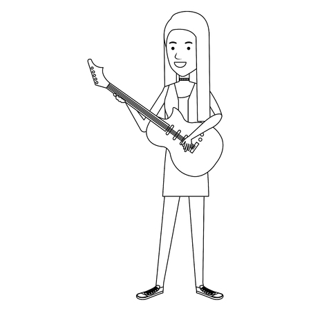 woman playing guitar electric character vector illustration design Çizim