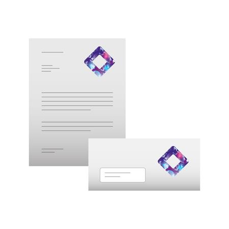 プレゼンテーションのベクトル図のビジネス レターヘッド封筒文房具ブランド化のテンプレート