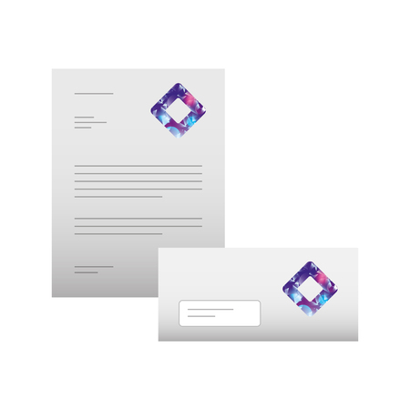 business letterhead envelope stationary branding template for presentation vector illustration Stok Fotoğraf - 88893972