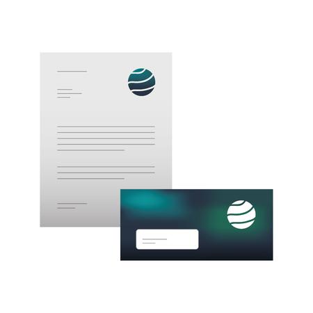 Stationäre Branding-Vorlage für Geschäftsbriefkopf-Umschlag für Präsentationsvektorillustration Standard-Bild - 88893973