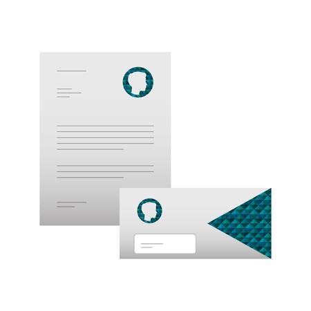 Stationäre Branding-Vorlage für Geschäftsbriefkopf-Umschlag für Präsentationsvektorillustration Standard-Bild - 88893974
