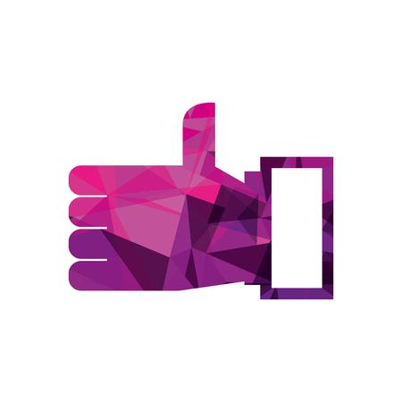 hand like ok technology social media vector illustration Ilustração