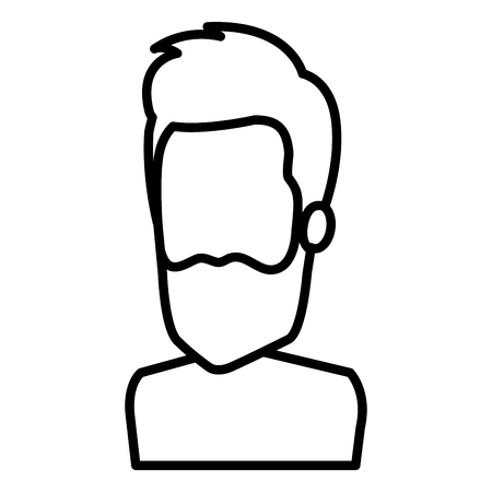 Avatar character; Man with beard in outlined, black and white illustration.