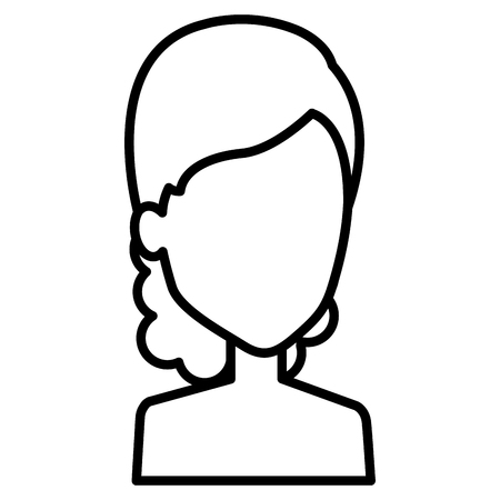 Female avatar character; Woman with wavy hair in outlined, black and white illustration. Иллюстрация