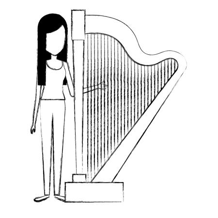 Woman playing harp character Çizim