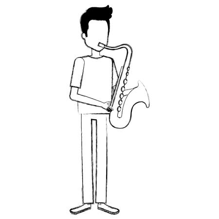 Man playing saxophone character Çizim
