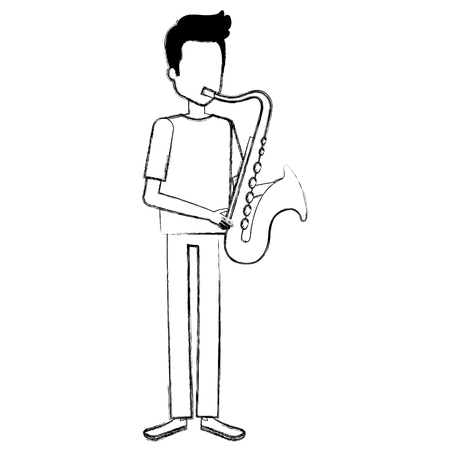 Man playing saxophone character Illustration