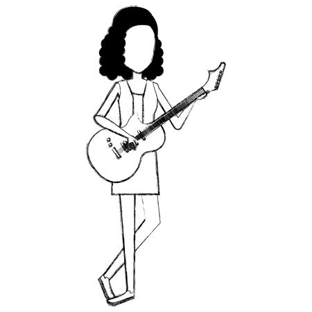 Woman playing guitar character
