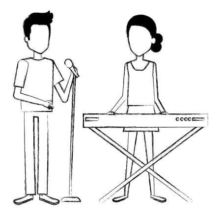 Couple singing and playing synthesizer vector illustration design.