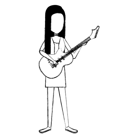 Woman playing guitar electric character vector illustration design. Çizim
