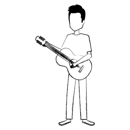 man playing guitar character vector illustration design Ilustração
